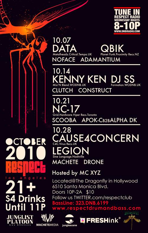 Flyer for October 2010 Respect Schedule