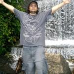 At a rain forrest waterfall in Cuba