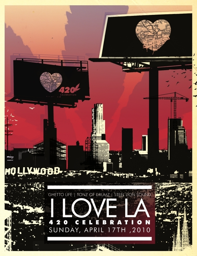 Main front of flyer for I Love LA party, April 17th 2010