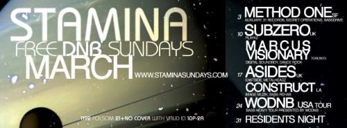 Stamina Sundays San Francisco DJ Construct & A-Sides